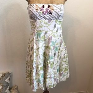 Free People Strapless Dress Sz 4 Boho Beaded Aline